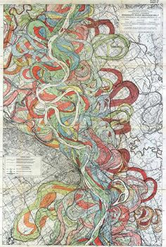 The Mighty Mississippi; beautiful map of the river's changing path