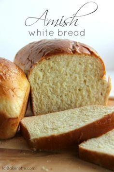 Amish White Bread Recipe. It's perfect sandwich bread that tastes similar to sourdough. | Bakerette.com