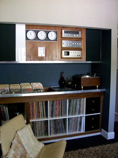 Vinyl storage and display with a loungey feel.