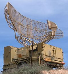 Israeli military radar is typical of the type of radar used for air traffic control. The antenna rotates at a steady rate, sweeping the local airspace with a narrow vertical fan-shaped beam, to detect aircraft at all altitudes. Radios, Moon Bounce, Radio Astronomy, Air Traffic Control, Armored Truck, Ballistic Missile, Unusual Buildings, Weapon Of Mass Destruction, Military Guns