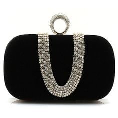 Ladies Black Bejeweled Velvet Evening Cocktail Clutch Bag Purse Wallet SKU-1110784
