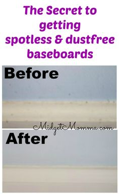 This SECRET trick to getting spotless and dust free baseboards. It is SUPER easy, takes just a few minutes and you are going to love how easy you can get your baseboards clean with this trick!