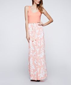 Love this Candy Rose Peach Floral Maxi Dress by Candy Rose on #zulily! #zulilyfinds
