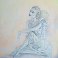 """ARTFINDER: Angel's visit by Evelina Miskunaite - It is an original artwork called """"Angel's visit"""". Work reminds us, that we all have our guardian angel. Intention is to bring light energy to someones life a..."""