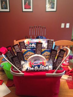 Diy gift basket ideas for men , women & baby on a budget ( food & n Theme Baskets, Themed Gift Baskets, Diy Gift Baskets, Camping Gift Baskets, Food Baskets, Basket Gift, Fundraiser Baskets, Raffle Baskets, Fundraiser Raffle Ideas