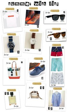 Summer Must Have List for him & her  More at www.fashiontofood.com