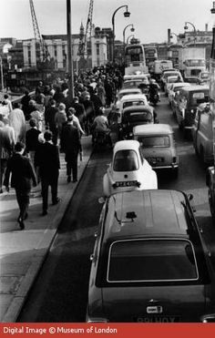 Waterloo Bridge during the morning rush hour, 1964 I used tro work in London back then and loved it.