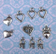 Jewelry Charms Mixed Hearts and Love by TheGirlShed on Etsy