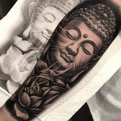 Full Sleeve and Half Sleeve Tattoo Ideas for Women Buda Tattoo, Lotusblume Tattoo, Khmer Tattoo, Lotus Tattoo, Ganesha Tattoo, Hindu Tattoos, Asian Tattoos, Trendy Tattoos, Tattoos For Guys