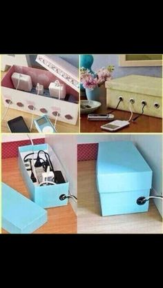 An outlet box to help with organization -- no messy cords