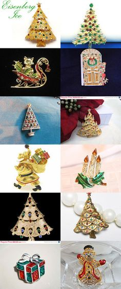 Vintage Christmas Holiday Brooches / Pins by D on Etsy -- Pinned with TreasuryPin.com