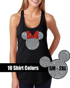 GLITTER Minnie Mouse Tank // Disneyland Shirt by BellaDesignsStl