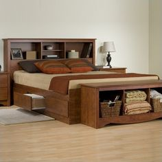 Monterey Cherry Queen Bookcase Platform Storage Bed