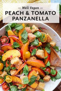 This Peach and Tomato Panzanella is the perfect recipe for summer. It features fresh, juicy peaches, tomatoes, bread, and herbs. What's not to love?