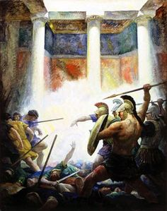 The Slaughter of the Suitors (1929) - N. C. Wyeth  - illustration for 'the Odyssey of Homer' - translated  by George Herbert Palmer - Published by Houghton Mifflin ~ 1929