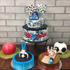 When you can't pick your favourite sport, you have them all.   #notjustdesserts #customisedcakes #desserts #cake #cakelovers #sports #cricket #football #cars #F1 #racing #sweettooth
