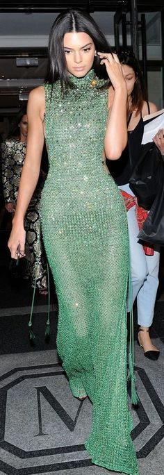 Just Jared - Kendall Jenner - Emerald Sparkling Gala Maxi Dress Celebrity Style Inspo #Fashionistas