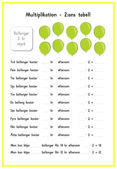 Multiplikation med ballonger Teaching Schools, Teacher Education, School Teacher, Teaching Math, Primary School, Learn Swedish, Swedish Language, Math Multiplication, Math For Kids