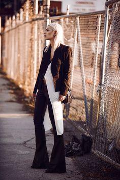 Street style from New York, Williamsburg with Manhattan Skyline via Masha Sedgwick wearing Diesel Black Gold and Saint Laurent