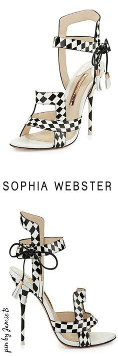Sophia Webster | Fall 2015 | Poppy Checkered Leather Sandal Black/White