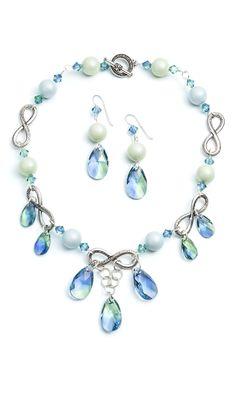 Infinite Pastel Necklace and Earrings Courtesy of Swarovski #beads #beading #jewelrymaking #diyjewelry #bridaljewelry #diywedding #SwarovskiCrystal #accessories