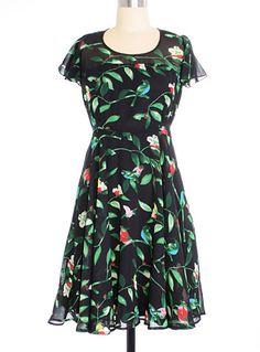 Dark Aviary Flutter Dress .............   put a bird on it.