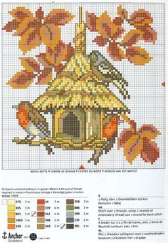 Point de croix Birdhouse*m Cross stitch Fall Cross Stitch, Cross Stitch Boards, Cross Stitch Animals, Cross Stitch Flowers, Cross Stitching, Cross Stitch Embroidery, Embroidery Patterns, Hand Embroidery, Cross Stitch Designs