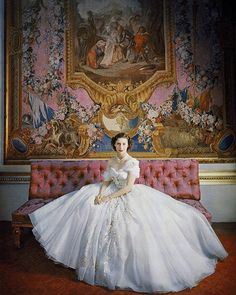 Princess Margaret in custom Christian Dior ball gown. Photographed by Cecil Beaton, ca. 1950s