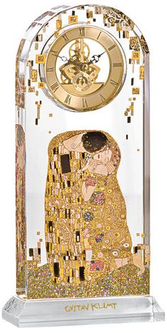 """Gustav Klimt: Table clock """"The Kiss"""" with gold"""