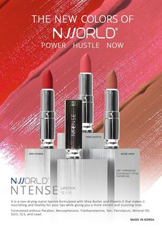 NTense Lipstick for healthy and nourished lips with a more vibrant and stunning look. Comes with 3 variants: Red Power, Pink Hustle and Nude Now. Become A Distributor, Lip Cream, Beautiful Lips, Best Anti Aging, Mineral Oil, Your Lips, Matte Lipstick, Acne Treatment, Vitamin E
