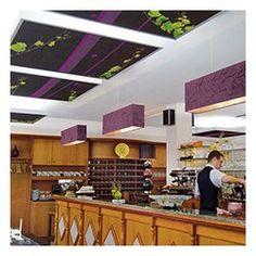BRASSERIE - dalle ilot faux plafond acoustique personnalisee