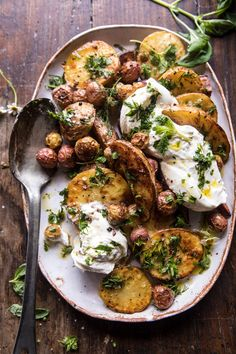 Roasted mixed potatoes with spring herbs and burrata (via Half Baked Harvest). Vegetarian Recipes, Cooking Recipes, Healthy Recipes, Food Dishes, Side Dishes, Potato Recipes, Food Inspiration, Food Photography, Yummy Food