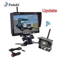 """Podofo Wireless Car Reversing Backup Rear View Camera with 7"""" Monitor kit Parking Assistance System for RV Truck Van Caravan Bus 