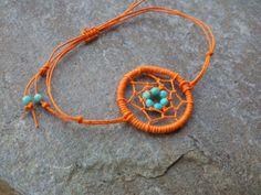 Found it!! Dream Catcher Bracelet Orange beaded Hemp Turquoise Adjustable / Dreamcatcher Jewelry