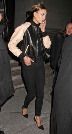 Go for a sleek look with a pulled together leather bomber jacket and pointed black pumps like Karlie Kloss // A Cool Girl's Guide To Nighttime Dressing