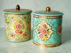 These are gorgeous!! Vintage Floral Tin Storage Canisters - Vintage Canisters - Pair of Vintage Kitchen Tins. $31.00, via Etsy.