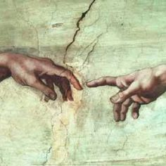 The creation of Adam by Michaelangelo.  See the hand of Akhenaten pointing to the Aten (the Sun, the creator).