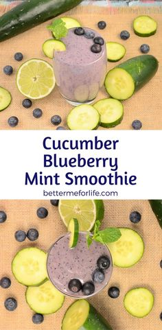 This cucumber blueberry mint smoothie is cool, sweet, creamy, refreshing, and will fuel you through a long morning or workout. Find the recipe on BetterMeforLife.com
