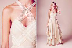 Free People limited edition bohemian wedding dress. Crisscross neckline, crochet details, cascading mesh, gunpowder sequins