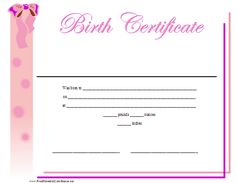 A printable birth certificate for a baby girl, featuring a ribbon and pretty pink design. Free to download and print