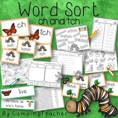 Word Sort ch and tch Harcourt Trophies Story I am a Butterfly for grade Teaching Language Arts, English Language Arts, Rhyming Words, Vocabulary Words, Blends And Digraphs, Thing 1, Common Core Reading, Word Sorts, Recording Sheets