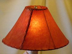 """Red Rawhide Lamp Shade 16"""" - Mission Del Rey Southwest"""