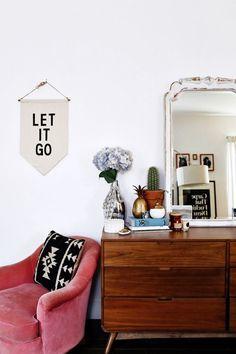 Eclectic Interior | Pink Velvet Chair | Let it Go Banner
