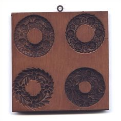Four Wreaths: House on the Hill, Inc., Springerle and Speculaas Cookie Molds for Baking, Crafting, Decorating