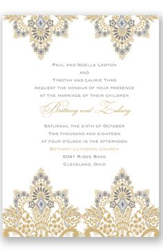 Antique Lace Letterpress Wedding Invitation by David's Bridal | Follow us and start pinning pretty paper options - from invitations and save the dates to programs and table numbers - for a chance to win $1,000 to InvitationsbyDavidsBridal.com. Enter here: http://sweeps.piqora.com/rsvpready