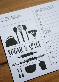 Sugar & Spice Recipe Card Set  15 Recipe Cards by LollieJDesign, $16.00