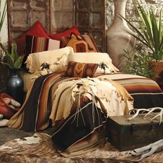 Saltillo Niko Serape Bedding from Crow's Nest Trading Southwestern Bedding, Southwest Bedroom, Southwestern Home, Southwest Decor, Southwest Style, Home Bedroom, Bedroom Decor, Bedroom Ideas, Master Bedroom
