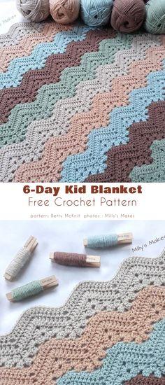 Crochet Ripple Afghan, Crochet Baby Blanket Free Pattern, Crochet Rug Patterns, Chevron Patterns, Crochet Blankets, Manta Crochet, Kids Blankets, Crocheting, Afghan Stitch