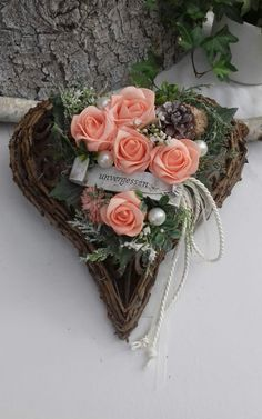 HEART grave arrangement, grave decorations, All Saints Day, Sunday of the Dead, Memorial Day - handicrafts . Grave Decorations, All Saints Day, Groom Boutonniere, Remembrance Day, Funeral Flowers, Bride Bouquets, Bridal Flowers, Artificial Flowers, Grapevine Wreath