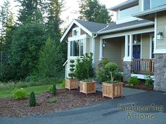 Pretty Front Porch: DIY Large Cedar Planter Boxes – Engineering A Home Planter Box Plans, Cedar Planter Box, Garden Planter Boxes, Diy Wooden Planters, Diy Planters Outdoor, Small Yard Landscaping, Backyard Patio, Front Porch, Yarn Wreaths